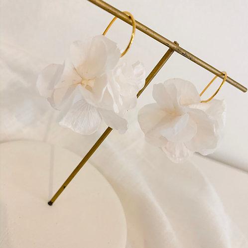 HORTENSE - Boucles d'oreilles en fleurs naturelles blanches