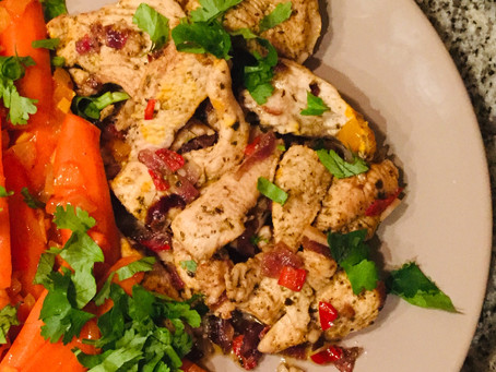 Gemarineerde kip (of kalkoen), mals en pittig