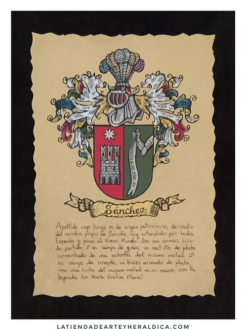 Escudo apellido pintado a mano. 24x34 cm