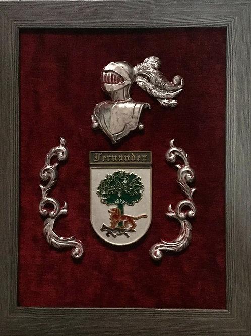 Cuadro heráldico 1  apellido en relieve y enmarcado