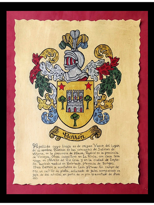 Pergamino con escudo del apellido pintado a mano.  34 x 44 cm