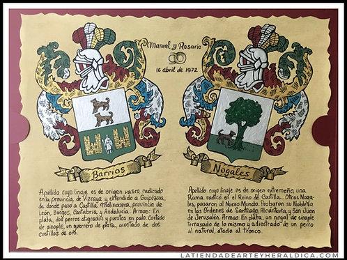 Pergamino 2 apellidos pintado a mano   ( con fecha)