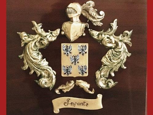 Escudo  en metopa 1 apellido  (acabado bronce)