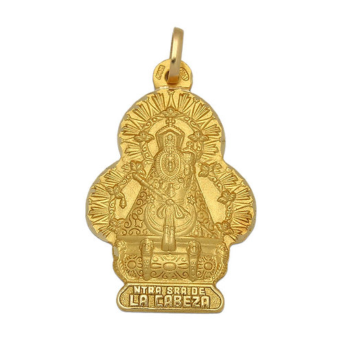 Medalla Virgen de la Cabeza en silueta oro 18 Kl. 19x29mm