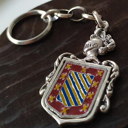 Llavero de plata con escudo esmaltado