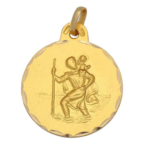 Medalla San Cristóbal oro 18 Kl. 21 mm.