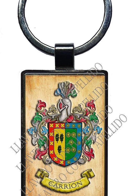 llavero con escudo y origen