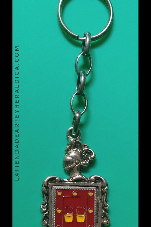 Herrera llavero de plata escudo en esmalte