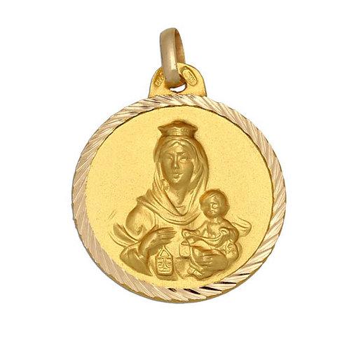 Medalla Virgen del Carmen en oro de 18 Kl, 22mm