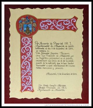 Diploma escrito a mano con cenefa