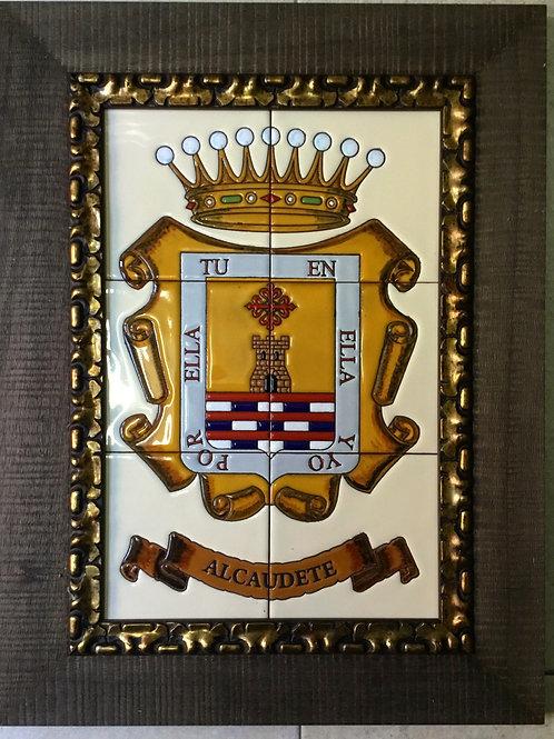 Escudo municipal en cerámica con marco