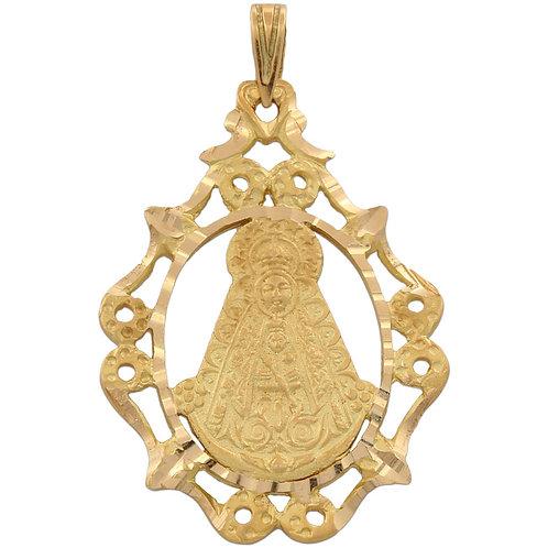 Medalla Virgen del Rocío oro 18 Kl. con cerco de filigrana 26x37mm.