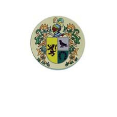 Insignia de acero con escudo del apellido