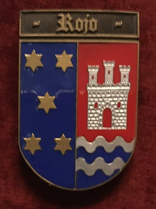 Rojo, escudo del apellido en esmalte