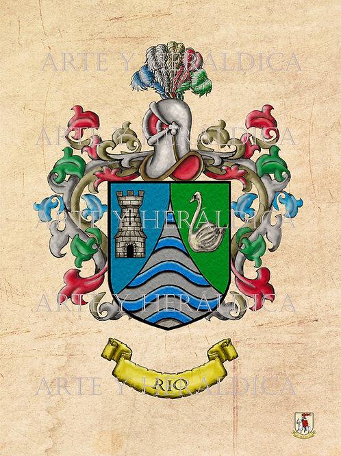 Río escudo vintage en PDF