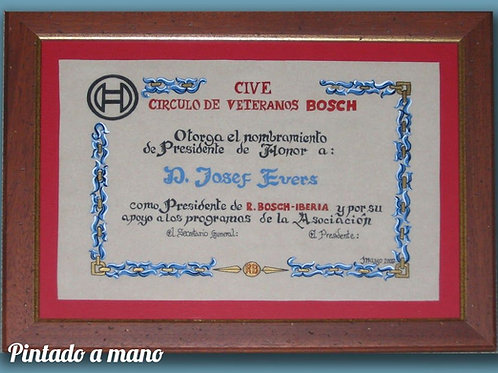 Diploma  pintado a mano con cenefa azul y marco