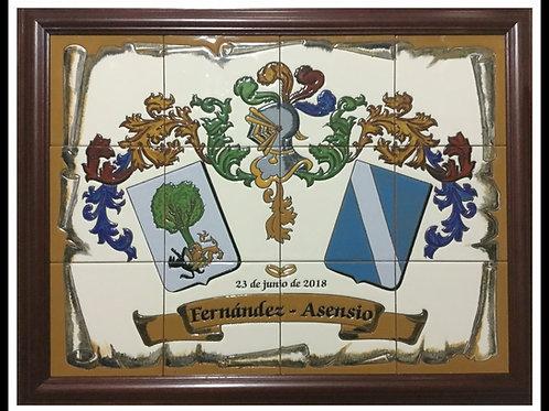 Escudos 2  apellidos  en cerámica ( con marco)