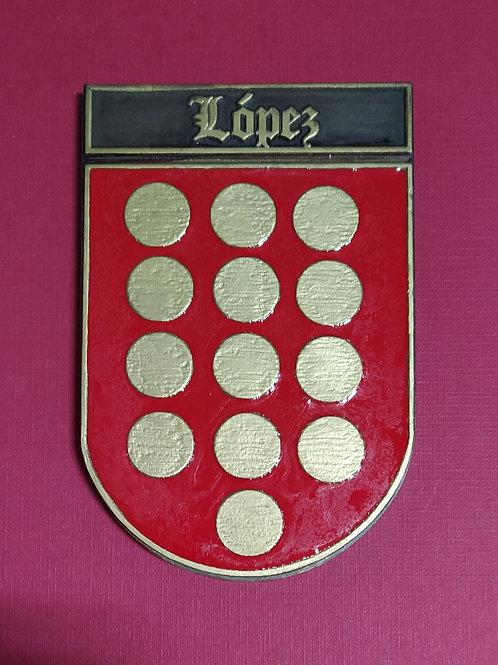 López escudo del apellido en esmalte