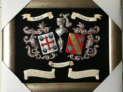 Cuadro heráldico con 2 apellidos  (modelo Aniversario)