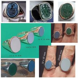 anillos de plata con escudo del apellido