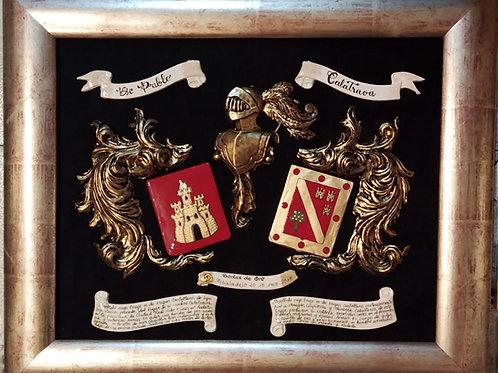 Cuadro heráldico 2 apellidos en relieve (acabado bronce)