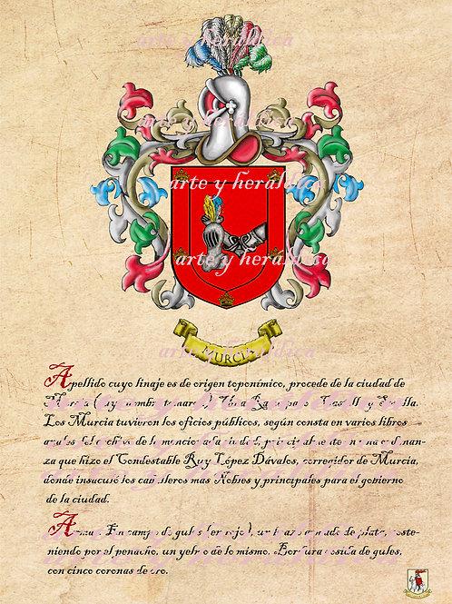 Murcia escudo vintage con el origen en PDF