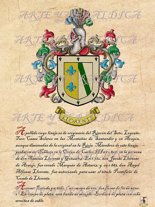 Llorente escudo vintage con el origen en PDF