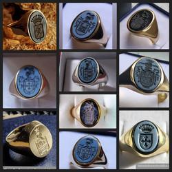 anillos de oro con agata grabada