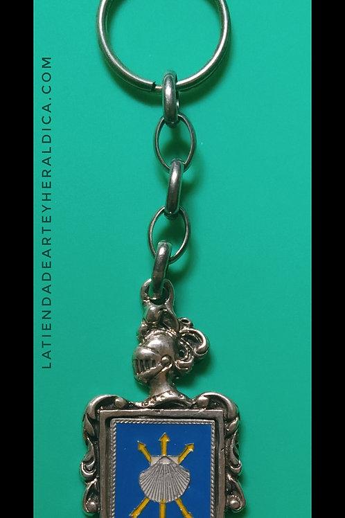 Santiago llavero de plata escudo en esmalte