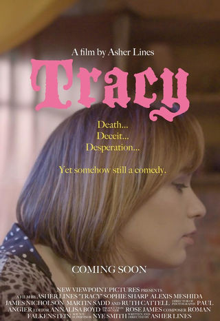 "Poster of the film. The title character is turned and we see her profile. On top of the picture the title of the film is written in pink, below it there are the words: ""death, deceit, desperation. Yet somehow still a comedy"""