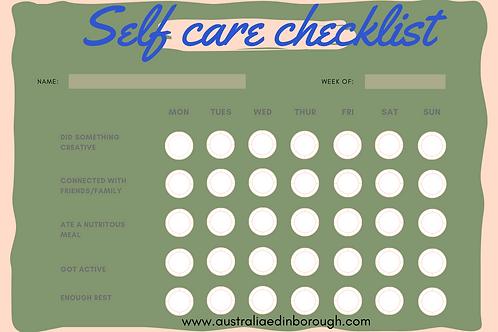 Boy Youth Self Care Checklist