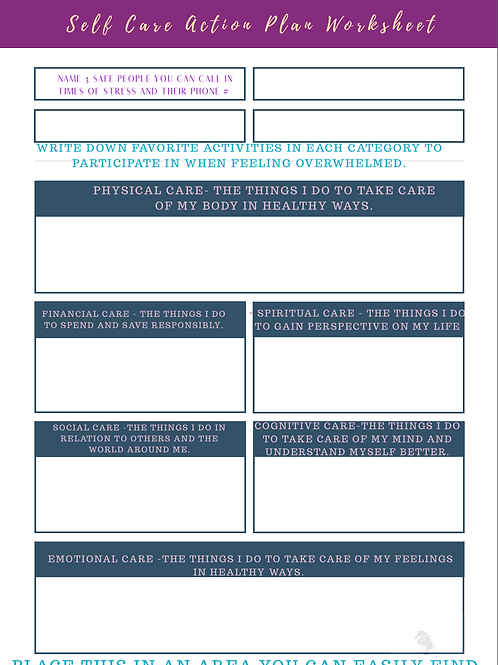 Self Care Action Plan Layout