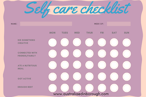 Girl Youth Self Care Checklist