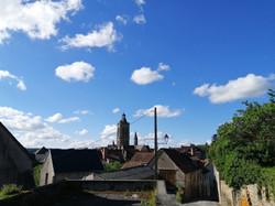 Vue sur l'église Sainte Valérie du Moutier
