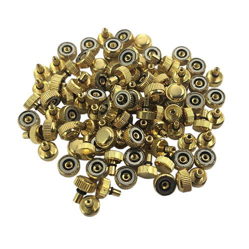 100 Assorted Watch Crown Winders : Brass