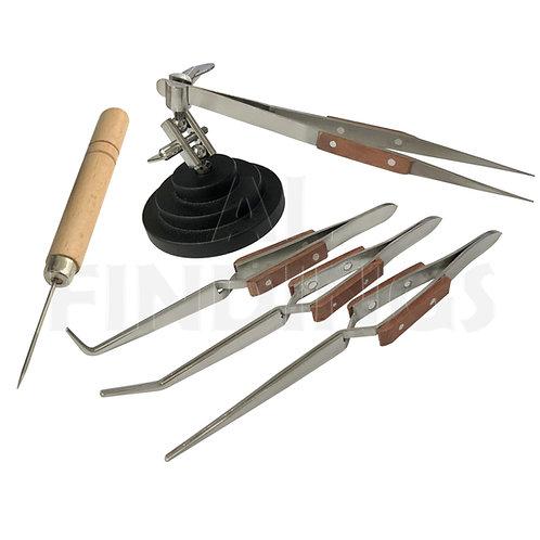 3rd Hand Base Vice, 4 Soldering Tweezers & Titanium Pick