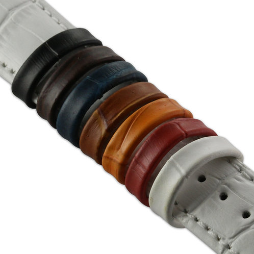 Leather 'Croc' Watch Strap Retaining Loops : Various Colours