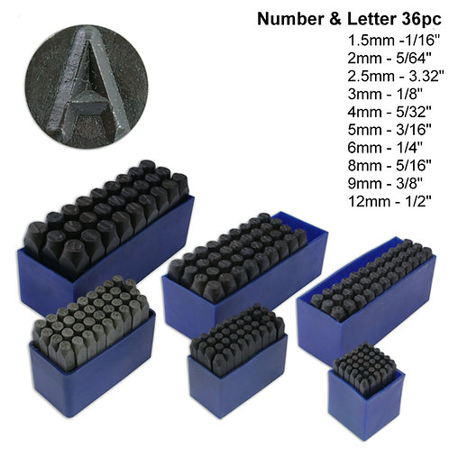 36pc Number & Letter Punch Set : Assorted Sizes