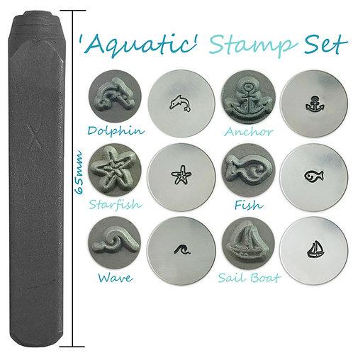 Set of 6 Metal Punch Set Aquatic Dolphin Anchor Fish Wave Boat Starfish Design