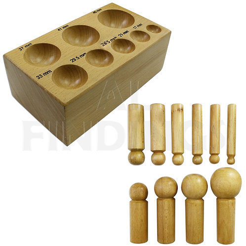 Wooden Doming Block Punch Set : 17 - 61mm Non Marring 11pc