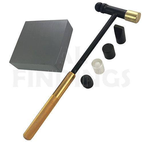 Steel Bench Block Anvil (64x64x20mm) & Rose Gold 6 Part Hammer
