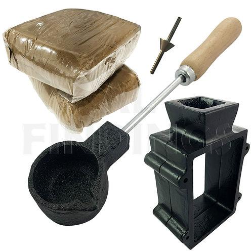 Sand Casting Set : Traditional Flask/ Melting Pot/ 2kg Sand/ Sprue