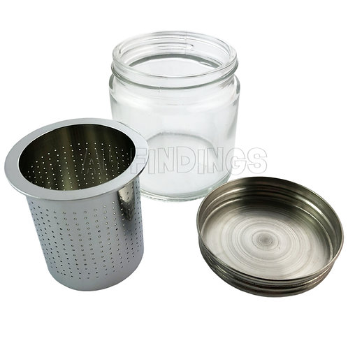 Medium Steel Sieve & Glass Jar