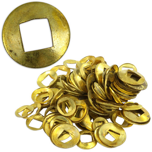 100 Brass Domed Clock Washers : Square Hole