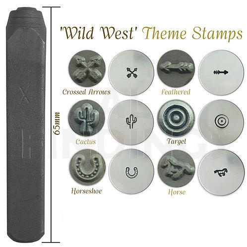 Set of 6 Metal Punch Set Wild West Theme Arrows Cactus Target Horse Design Stamp