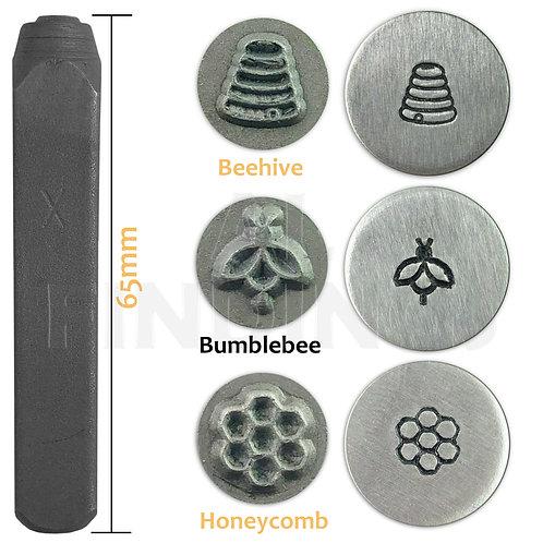 Set of 3 Metal Punch Stamp Set - Bumblebee, Beehive, Honeycomb Design Stamps