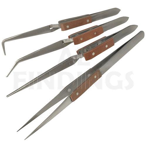 4x Angled Soldering Tweezers