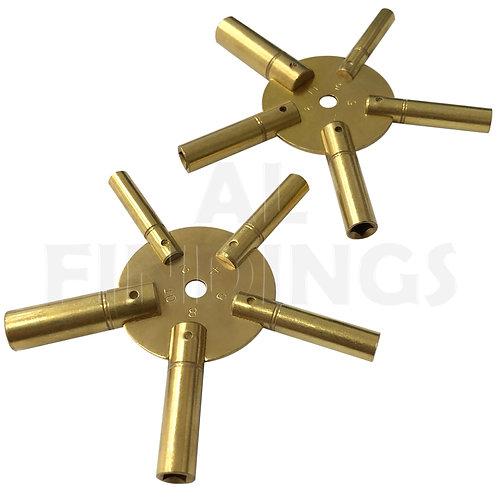Brass Spider Clock Winding Keys 2-10 & 3-11