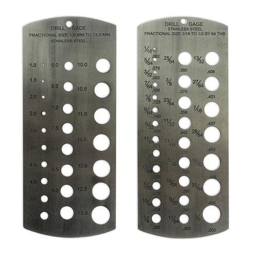 "Stainless Steel Metric & Imperial Drill Gauge 1/16 -1/2"" + 1-13mm"