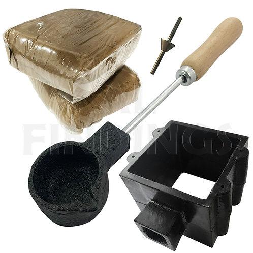 XL Sand Casting Set : Traditional Flask/ Melting Pot/ 2kg Sand/ Sprue